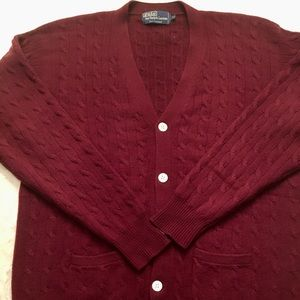 RL Polo 100% Cashmere Cable Knit Cardigan with MOP